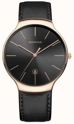 Bering Cinturino in pelle nera vintage 13338-462