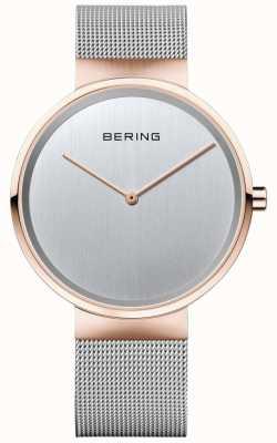 Bering Cinturino milanese in argento classico unisex con cassa in oro rosa 14539-060