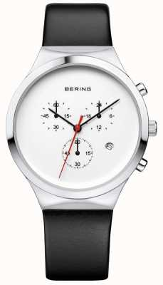 Bering Cinturino in pelle nera classica in cronografo bianco 14736-404