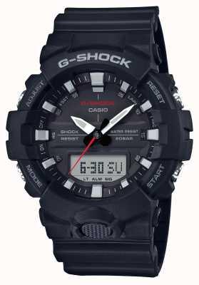 Casio Cinturino in gomma cronografo in alluminio g-shock uomo nero GA-800-1AER
