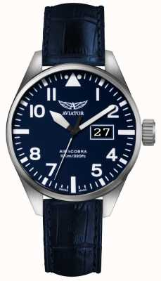 Aviator Maschio azzurra p42 blu cinturino in pelle blu dial V.1.22.0.149.4