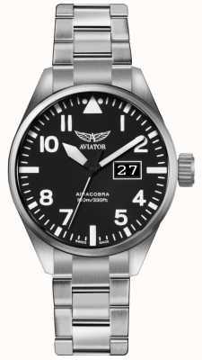 Aviator Quadrante nero del braccialetto dell'acciaio inossidabile del alchilobra p42 dell'uomo V.1.22.0.148.5