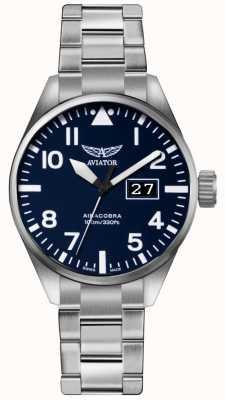 Aviator Quadrante blu braccialetto in acciaio inox acciaio al carbonio p42 V.1.22.0.149.5