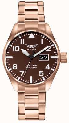 Aviator Mens airacobra p42 marrone pvd placcato bracciale quadrante marrone V.1.22.2.151.5