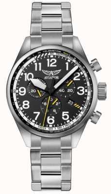 Aviator Braccialetto in acciaio inox azzurro bracciale in acciaio al carbonio nero p45 V.2.25.0.169.5