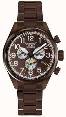 Aviator Mens airacobra p45 chrono bronzo pvd bracciale quadrante marrone V.2.25.8.172.5