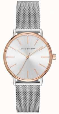 Armani Exchange Vigilanza del vestito dal braccialetto della maglia di Womans dell'acciaio inossidabile AX5537