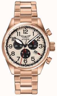 Aviator Mens airacobra p45 cronografo oro rosa placcato quadrante crema V.2.25.2.173.5