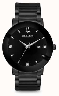Bulova Il nero moderno della vigilanza del diamante degli uomini 98D144