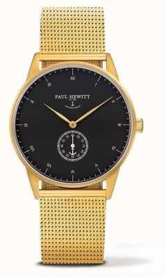 Paul Hewitt Orologio firma unisex | bracciale a maglie in acciaio inossidabile dorato PH-M1-G-B-4M