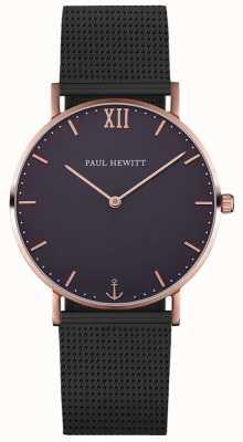 Paul Hewitt Bracciale in rete nera del marinaio unisex PH-SA-R-ST-B-5M