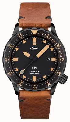 Sinn U1 è in v-punto in cuoio marrone vintage in acciaio 1010.023