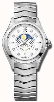 EBEL Womens wave diamond set moonphase orologio in acciaio inossidabile 1216372