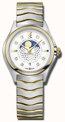 EBEL Womens wave diamond set orologio a due fasi con fasi lunari 1216373