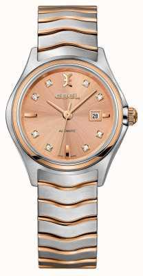 EBEL Womens wave diamond set orologio in oro rosa a due tonalità 1216328