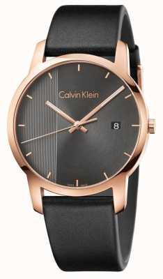 Calvin Klein   orologio da uomo in pelle nera   K2G2G6C3