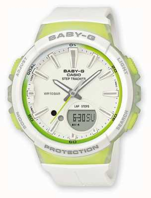 Casio Vigilanza verde / bianca del tracker del passo del bambino-g di Womens BGS-100-7A2ER