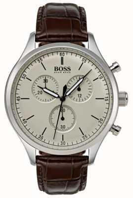 Hugo Boss Cinturino in pelle marrone cronografo compagno da uomo 1513544