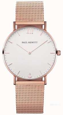 Paul Hewitt Bracciale unisex con cinturino in maglia d'oro rosa 39mm PH-SA-R-ST-W-4M