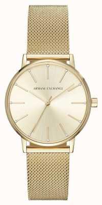 Armani Exchange Orologio da donna con cinturino in maglia placcata oro AX5536