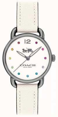 Coach Cinghia di cuoio bianca della vigilanza del womans delancey 14502915