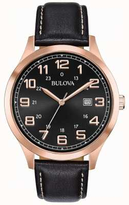 Bulova Caso di tono in oro rosa in pelle nera orologio da uomo 97B164