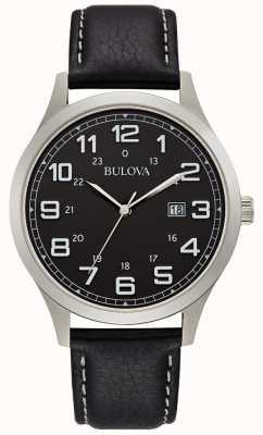 Bulova Cassa in acciaio in pelle nera orologio da uomo 96B276