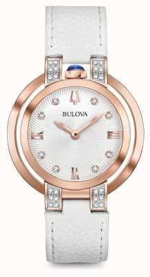 Bulova Womans rubaiyat cinturino in pelle bianca set diamanti 98R243