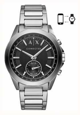 Armani Exchange Quadrante nero del braccialetto dell'acciaio inossidabile di smartwatch ibrido del Mens AXT1006