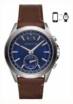 Armani Exchange Quadrante blu cinturino in pelle marrone smartwatch ibrido uomo AXT1010