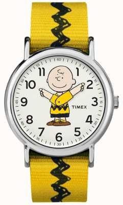 Timex Settimanale charlie marrone arachidi cinghia gialla TW2R411006B