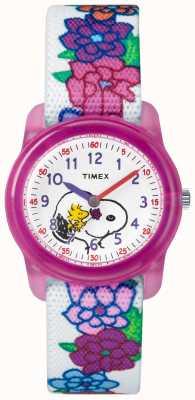 Timex Giovani cinghia bianca analogica dei giovani snoopy fiori TW2R41700JE