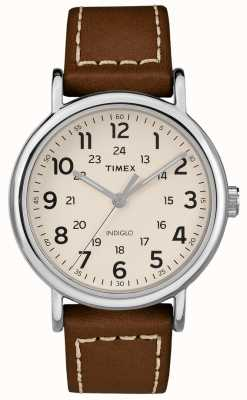 Timex Quadrante bianco cinturino in pelle marrone weekender per uomo TW2R42400