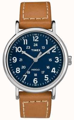 Timex Girocollo in cotone in cuoio di allenamento settimanale per uomo TW2R42500D7PF