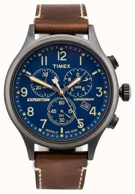 Timex Quadrante blu cinturino cronografo marrone scout esploratore spedizione TW4B09000D