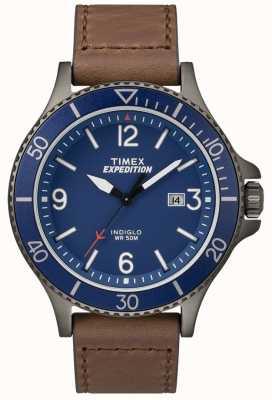 Timex Selettore azzurro cinturino in pelle marrone TW4B10700