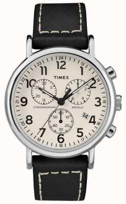 Timex Cinturino in pelle nera cronografo da uomo TW2R42800D7PF