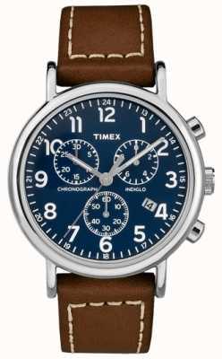 Timex Cinturino in cuoio marrone cronografo da uomo TW2R42600D7