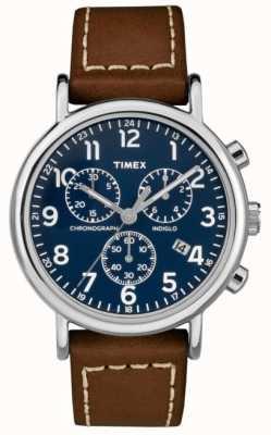 Timex Cronografo da uomo con cinturino in pelle marrone cronografo TW2R42600D7