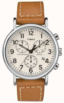 Timex Cinturino in pelle marrone cronografo da uomo TW2R42700D7PF