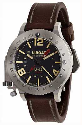 U-Boat Cinturino in pelle marrone u-42 gmt 50mm in edizione limitata 8095