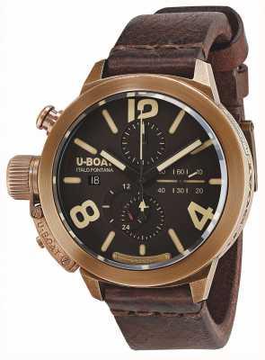 U-Boat Cinturino in pelle marrone automatico brà classico 50 color bronzo 8064