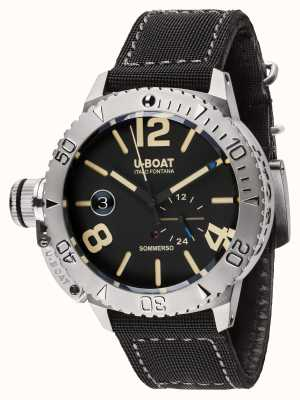 U-Boat Cinturino sommerso 46 bk automatico in gomma nera / nylon 9007