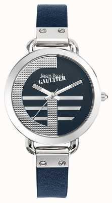 Jean Paul Gaultier Quadrante blu per donna con quadrante blu e cinturino in pelle JP8504324