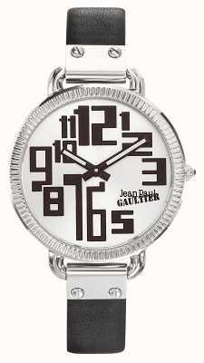Jean Paul Gaultier Ghiera in argento nera con cinturino in pelle nero JP8504305