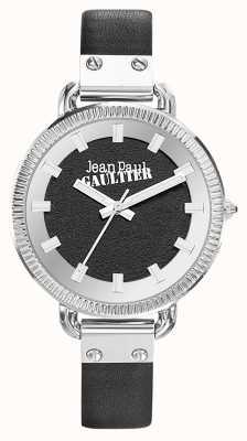 Jean Paul Gaultier Manopola nera in pelle nera cinturino nero JP8504312
