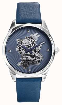 Jean Paul Gaultier Quadrante blu cinturino in pelle blu navy tatoo JP8502413