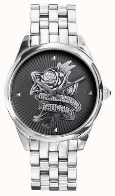 Jean Paul Gaultier Quadrante nero del braccialetto dell'acciaio inossidabile del tatoo del blu marino JP8502407