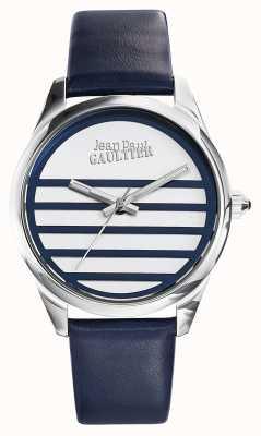 Jean Paul Gaultier Quadrante bianco cinturino in pelle blu navy JP8502409