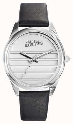 Jean Paul Gaultier Quadrante bianco cinturino in pelle nera JP8502408